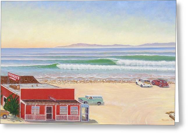 Rincon Paintings Greeting Cards - Checking Stanleys Greeting Card by Tim Laski