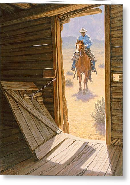 Cowboys Greeting Cards - Checking the Line Cabin Greeting Card by Paul Krapf