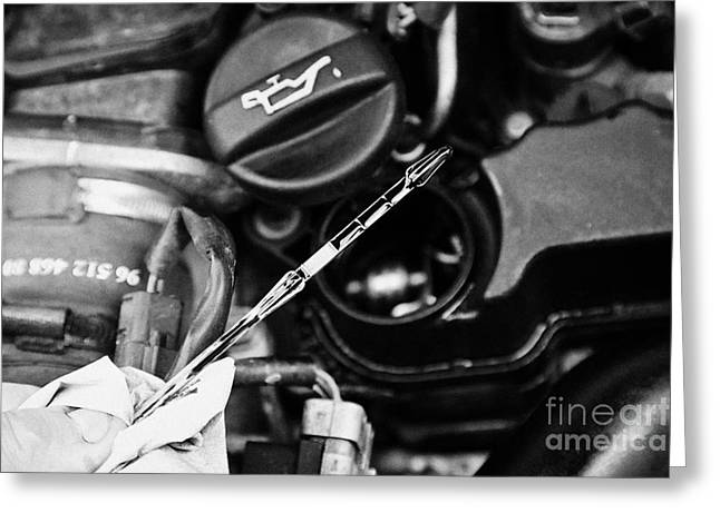 Lube Greeting Cards - Checking The Oil Level On The Dipstick In A Car Engine Compartment Greeting Card by Joe Fox