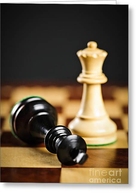 Competition Photographs Greeting Cards - Checkmate in chess Greeting Card by Elena Elisseeva