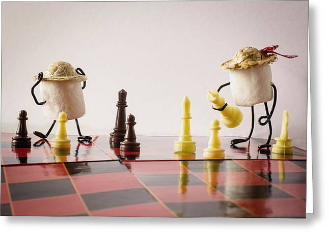 Anthropomorphism Greeting Cards - Checkmate Mallow Greeting Card by Heather Applegate