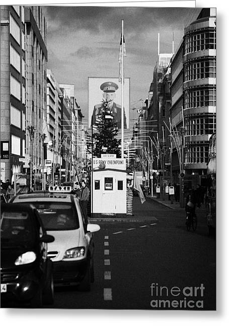 Berlin Germany Greeting Cards - checkpoint charlie ersatz cabin reconstruction in the middle of Friedrichstrasse Berlin Germany Greeting Card by Joe Fox