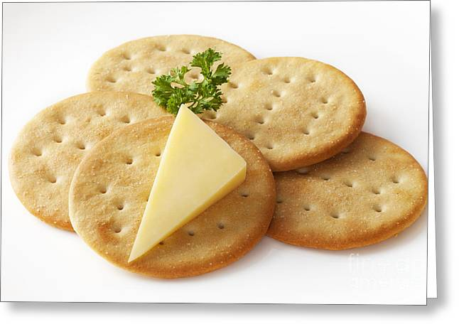 Biscuit Greeting Cards - Cheddar Cheese and Crackers Greeting Card by Colin and Linda McKie
