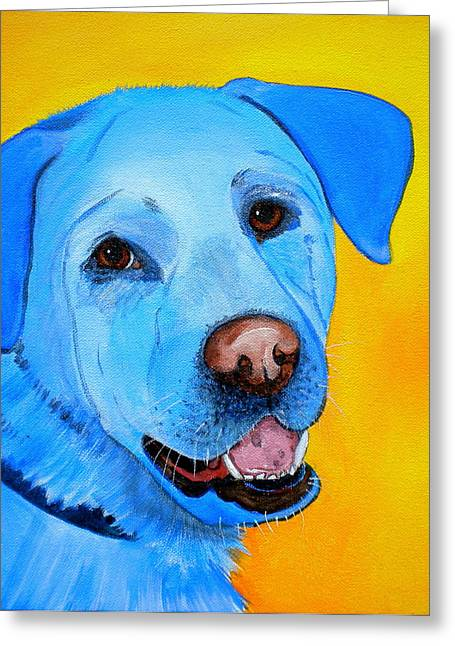White Lab Greeting Cards - Cheddar Greeting Card by Debi Starr