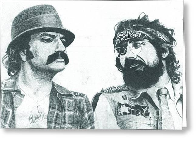 Cheech And Chong Greeting Card by Jeff Ridlen