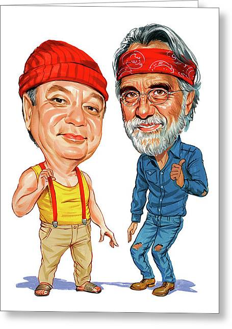 Amazing Paintings Greeting Cards - Cheech Marin and Tommy Chong as Cheech and Chong Greeting Card by Art