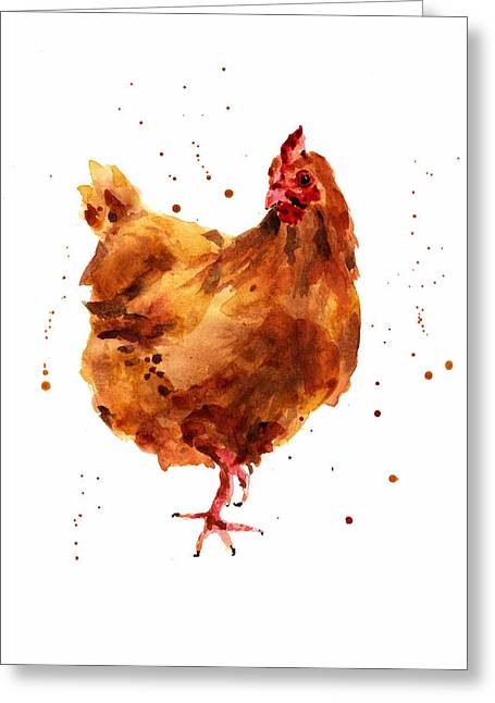 Watercolor! Art Greeting Cards - Cheeky Chicken Greeting Card by Alison Fennell