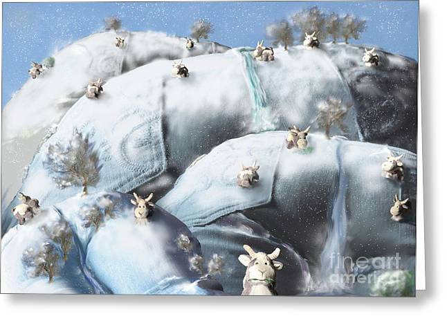 Grazing Snow Greeting Cards - Christmas Goats Greeting Card by Kathryn Bell