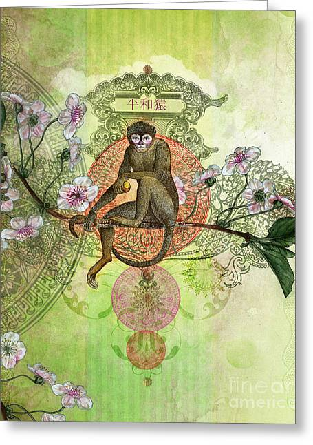 Pink Flower Branch Greeting Cards - Cheeky Monkey Greeting Card by Aimee Stewart