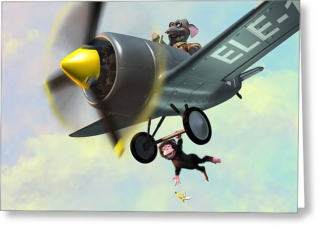 Cheeky Monkey Hanging From Plane Greeting Card by Martin Davey