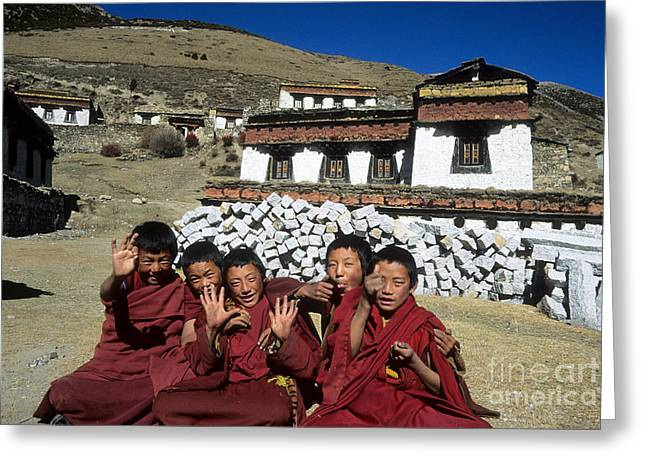 Tibetan Buddhism Greeting Cards - Cheeky Monks Greeting Card by James Brunker
