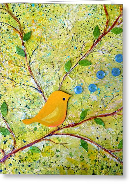 Layers Greeting Cards - Cheerful Chirpy Singing Yellow Bird Greeting Card by Carla Parris