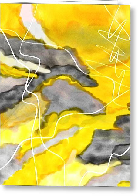 Yellow And Gray Abstract Greeting Cards - Cheerful Contrast - Yellow And Gray Watercolor Greeting Card by Lourry Legarde