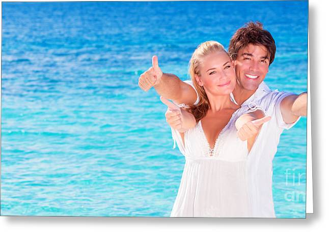 Thumbs Up Greeting Cards - Cheerful couple enjoying beach vacation Greeting Card by Anna Omelchenko