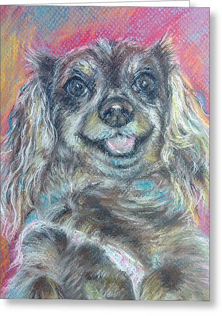 Custom Commissioned Pet Portrait From Photos Greeting Cards - Cheerful Dashound dog Pastel Painting Greeting Card by Sun Sohovich