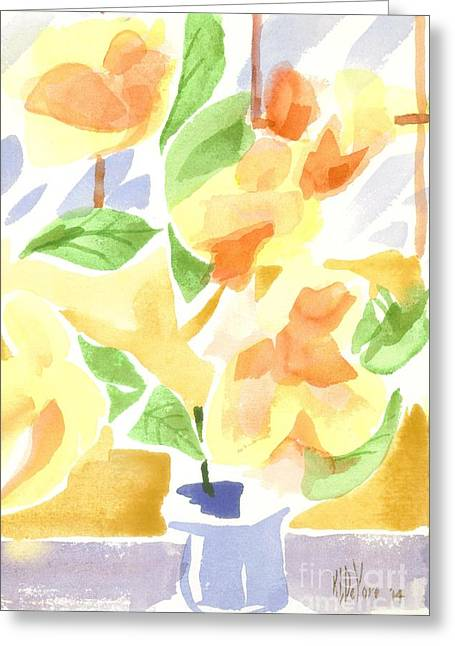 Green And Yellow Greeting Cards - Cheerful Magnolias Greeting Card by Kip DeVore