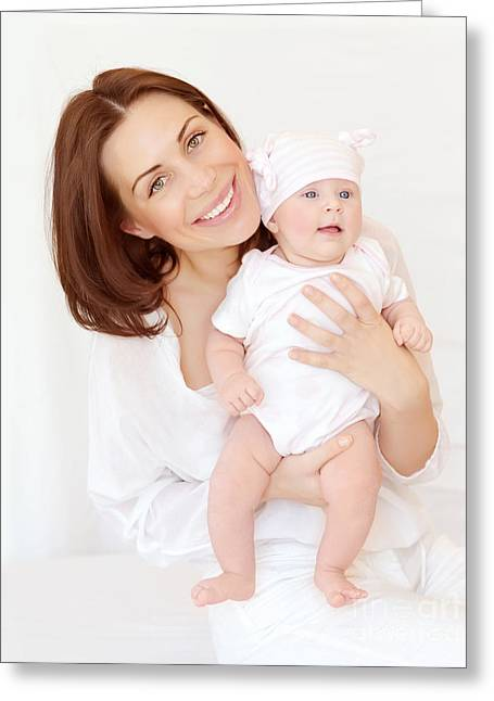 Caring Mother Greeting Cards - Cheerful mother with little baby Greeting Card by Anna Omelchenko