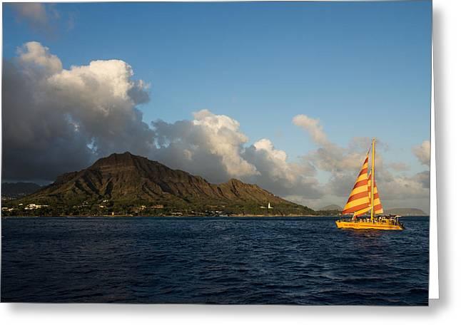 Ocean Sailing Greeting Cards - Cheerful Orange Catamaran and Diamond Head - Waikiki - Hawaii Greeting Card by Georgia Mizuleva