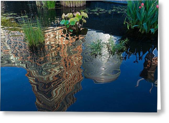 Effervescent Greeting Cards - Cheerful Reflections - Beautiful Water Garden Reflecting Manhattan Skyscrapers Greeting Card by Georgia Mizuleva