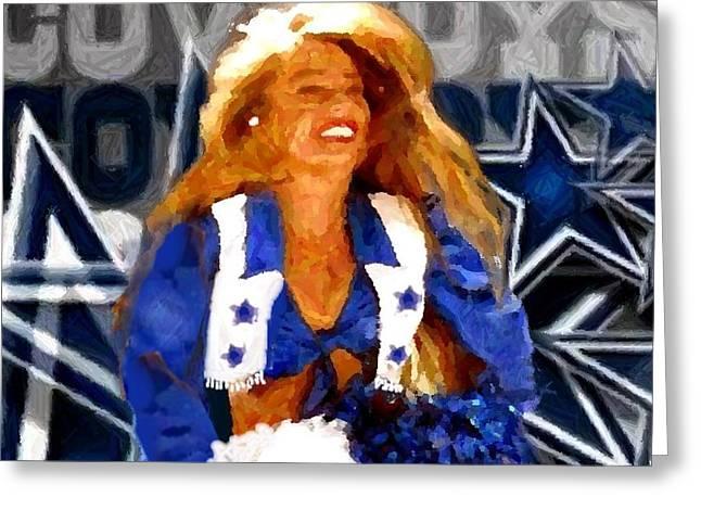 Cowboys Cheerleaders Greeting Cards - Cheerleader Legend Greeting Card by Carrie OBrien Sibley