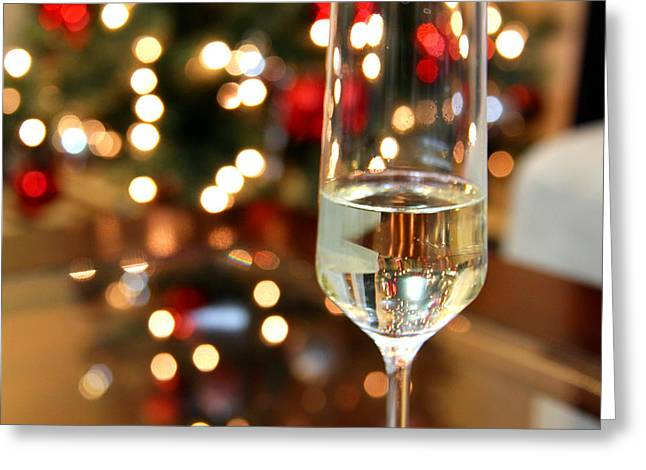 Prosecco Greeting Cards - Cheers Greeting Card by Amy Lewark