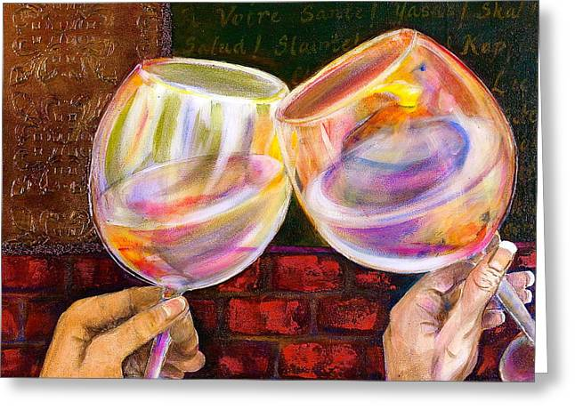 Pinot Noir Mixed Media Greeting Cards - Cheers Greeting Card by Debi Starr