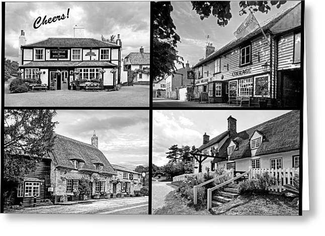 Thatch Greeting Cards - Cheers - Eat Drink and Be Merry - 4 Pubs BW Greeting Card by Gill Billington