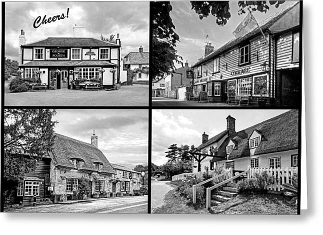 Old Inns Greeting Cards - Cheers - Eat Drink and Be Merry - 4 Pubs BW Greeting Card by Gill Billington