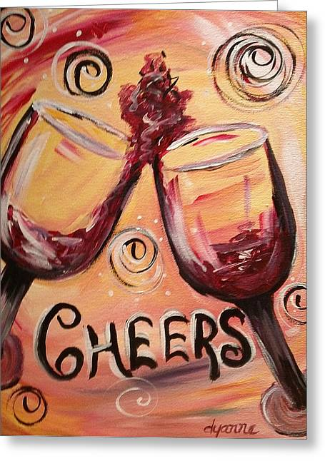 Red Wine Prints Greeting Cards - Cheers Greeting Card by Dyanne Parker