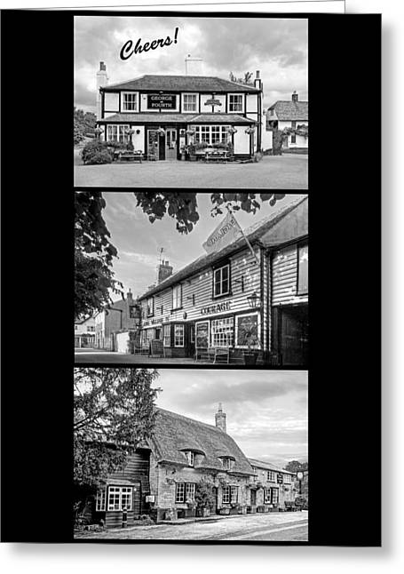Old Inns Greeting Cards - Cheers - Eat Drink and Be Merry - 3 Pubs BW Greeting Card by Gill Billington