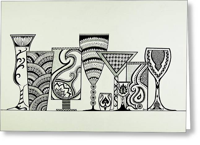 Champagne Glasses Drawings Greeting Cards - Cheers Greeting Card by Hema Narayanan