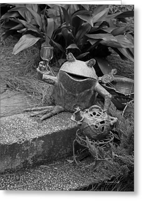 Metal Art Greeting Cards - Cheers in Black and White Greeting Card by Suzanne Gaff