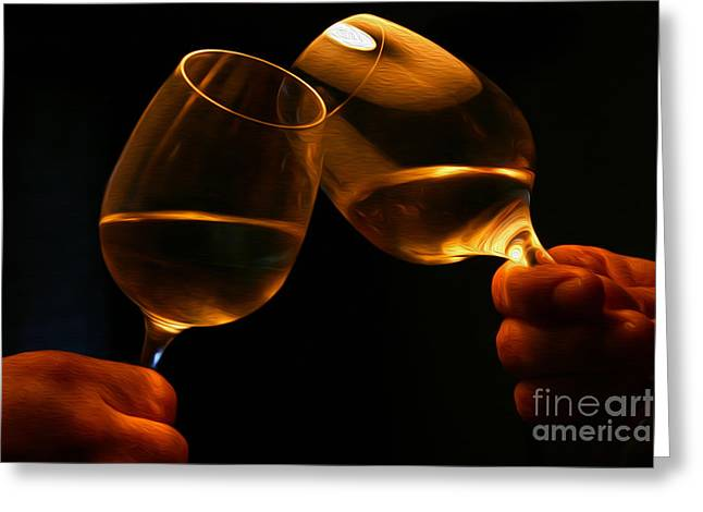 Toasting Digital Art Greeting Cards - Cheers Greeting Card by Patricia Hofmeester