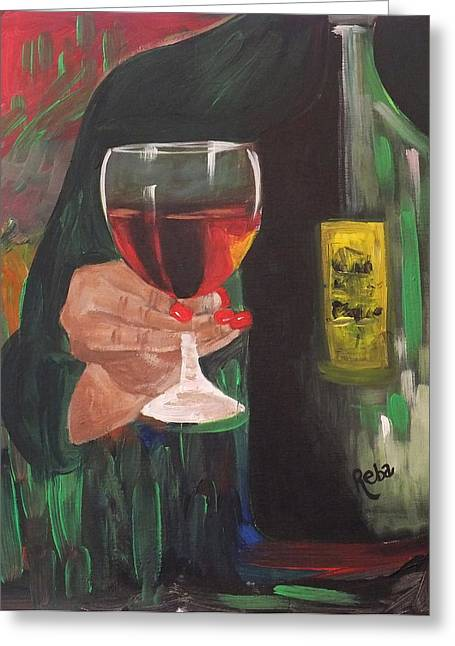 Wine Pouring Greeting Cards - Cheers Greeting Card by Reba Baptist