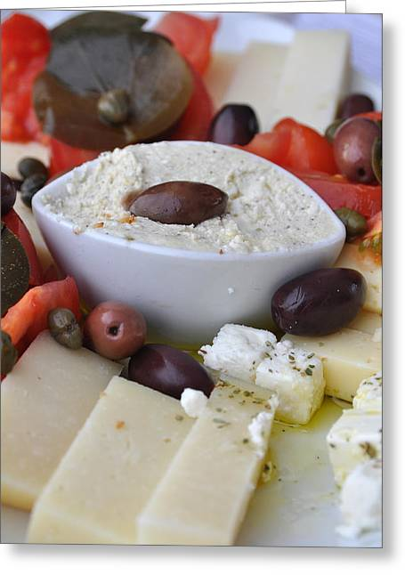 Cheese And Olives Greeting Card by Kathy Schumann