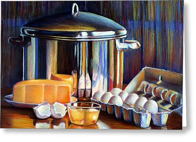 Cheeses Pastels Greeting Cards - Cheese and Pot Greeting Card by JAXINE Cummins