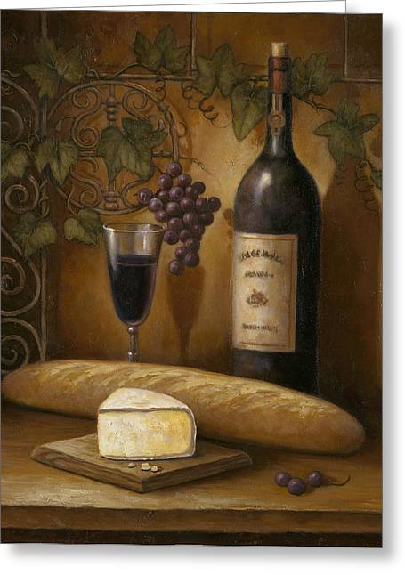Italian Wine Greeting Cards - Cheese and Wine Greeting Card by John Zaccheo