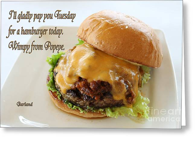 Lettuce Mixed Media Greeting Cards - Cheese Burger Greeting Card by Garland Johnson