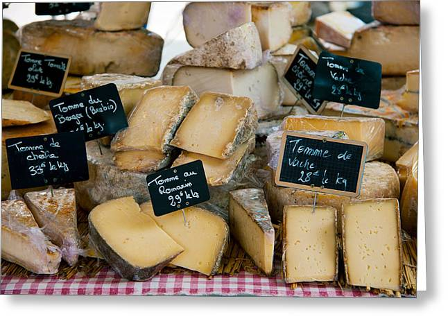 Healthy Greeting Cards - Cheese For Sale At A Market Stall Greeting Card by Panoramic Images