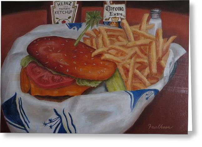 Cheeseburger Paintings Greeting Cards - Cheeseburger in Paradise Greeting Card by Gary  Faulkner