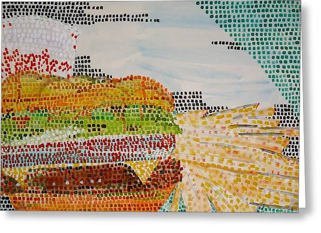 Cheeseburger Paintings Greeting Cards - Cheeseburger just Pickles large Fries Medium Coke Greeting Card by Troy Thomas