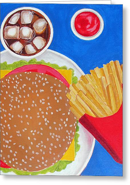Cheeseburger Paintings Greeting Cards - Cheeseburger Greeting Card by Toni Silber-Delerive