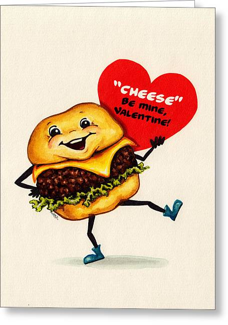Cheeseburger Paintings Greeting Cards - Cheeseburger Valentine Greeting Card by Kelly Gilleran