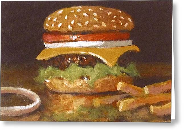 Cheeseburger Paintings Greeting Cards - Cheeseburger With Fries Greeting Card by William McLane