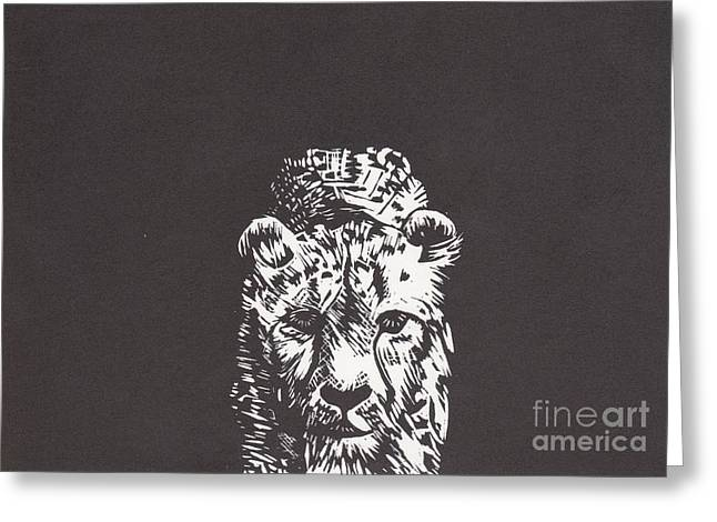 Lino Mixed Media Greeting Cards - Cheetah Greeting Card by Alexis Sobecky