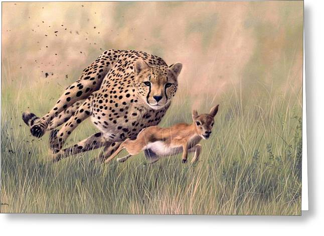 Gazelle Greeting Cards - Cheetah and Gazelle Painting Greeting Card by Rachel Stribbling