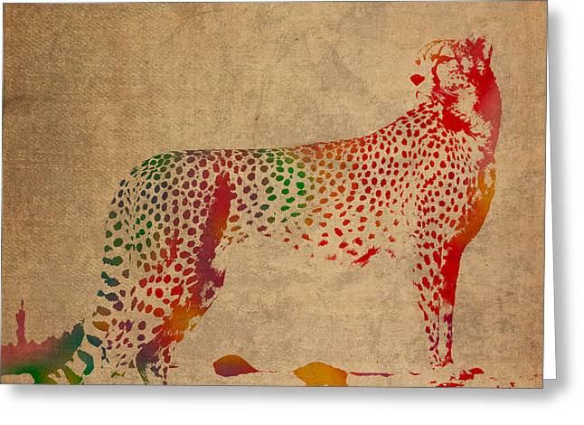 Cheetahs Greeting Cards - Cheetah Animal Watercolor Portrait on Worn Canvas Greeting Card by Design Turnpike