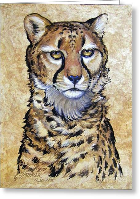 Amate Bark Paper Greeting Cards - Cheetah Greeting Card by Anne Shoemaker-Magdaleno