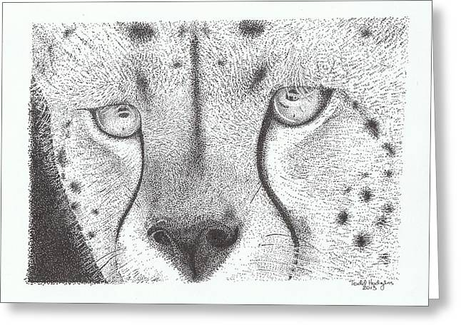 Cheetah Face Greeting Card by Todd Hodgins