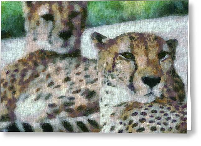 Speed Trap Greeting Cards - Cheetah Portrait Greeting Card by Dan Sproul